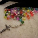 Multicolored Crackled Bead Rosary or Prayer Beads Necklace