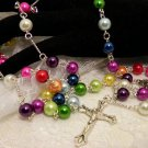 Colorful Glass Pearled Rosaries or Prayer Beads Necklace