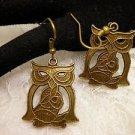 Big Metal Bronze Celtic Style Bronze Owl Dangle Earrings