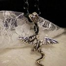 Winged Silver Metal Dragon Charm Pendant Black Chain Necklace