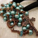Handmade Rosary & Prayer Beads Blue Glass Pearl & Copper Religious Cathoic