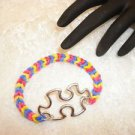 Autism Awareness Puzzle Charm Rubber Band Style Bracelet Stretch