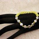 Custom Made Awareness Yellow Crystal Diabetic ALERT Bead Bracelet