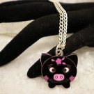 Colored Metal Black and Pink Pig Charm Necklace Silver Chain