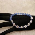 Custom Made Awareness Light Blue Crystal Diabetic ALERT Beaded Bracelet