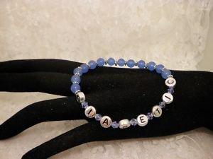 Custom Made Awareness Light Blue Crystal Diabetic ALERT Beaded Bracelet