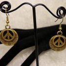 Metal Bronze Peace Sign Metal Dangle Earrings Choose Silver Also
