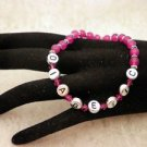 Custom Made Awareness Dark Pink Crystal Diabetic ALERT Beaded Bracelet