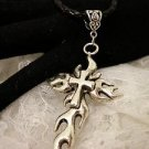 "Silver Metal Fire Gothic Cross Pendant Necklace 18"" Long"