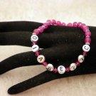 Customized Awareness Fushia Diabetic ALERT Or Personal Name Beaded Bracelet