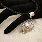 Vintage Style Silver Metal Face Lady Charm Necklace Black Cord Bail