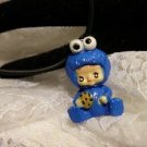 Kids Jewelry Charms Cookie Blue Monster 3d Charm Necklace Black Cord