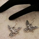 Silver Metal American Eagle Charm Surgical Steel Earrings