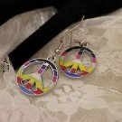 Rainbow Metal Awareness Peace Sign Charm Surgical Steel Earrings