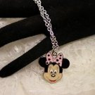 Enamel Cute Disney Metal Minnie Mouse Charm Necklace Silver Chain