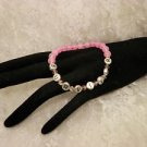 Customized Awareness Pink Breast Cancer Survivor Alert Crystal Beaded Bracelet