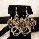 Fairy Tale Winged Metal Dull Silver Big Dragon Dangle Earrings