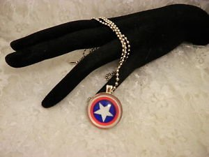 Captain America Silver Framed Or BlackGlass Cabochon Pendant Necklace Choose One