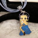 BETTY BOOP Blue Dressed Metal Charm Bail Character Necklace
