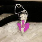 BETTY BOOP Character Purple Dress Metal Charm Bail Necklace