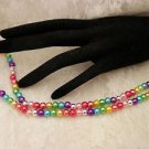 Handmade Awareness Rainbow Gay Pride Colorful Glass Pearl Necklace