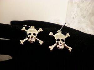 Silver Style Skull Cross Bone Metal Earrings Surgical Steel Hooks