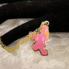 """RARE"" TY Beannie Pink FLAMINGO Golden Charm Necklace Kids Jewelry"