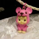 "Resin 3 D Kewpi Doll "" PINK BEAR"" Charm Cord Pendant Kids Jewelry"