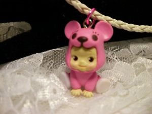 "Resin 3 D Kewpi Doll "" PINK BEAR"" Charm Cord Pendant Kids Jewelry"