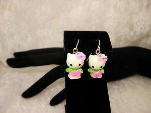 Resin Hello Kitty Sanrio Pink 3D Charm Sergical Steel Dangle Earrings