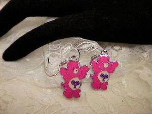 Metal Care Bear Dark Pink Enamel Surgical Steel Dangle Earrings