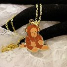 """""""RARE"""" TY Beannie Brown MONKEY Golden Charm Necklace Kids Jewelry"""