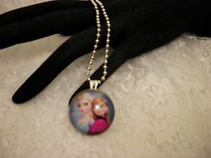 """Frozen ELSA & ANNA Characters Glass 1"""" Framed Cabochon Silver Ball Chain"""