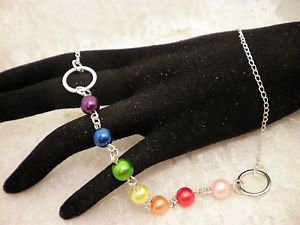 """Gay Pride Rainbow Glass Pearled Silver Chain Necklace 18"""" Long"""