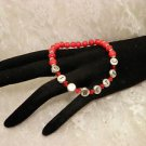 Handmade Bright Red Diabetic ID Alert Beaded Bracelet Or Personalize Name