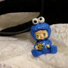 "Resin 3D Kewpi Doll "" COOKIE MONSTER"" Charm Pendant Cord Necklace Kids Jewelry"