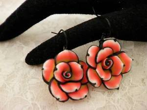 Handmade Polymar Clay Rose Red and Yellow Dangle Earrings