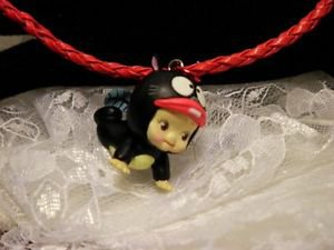 Resin 3 D Kewpi Doll Black Fish Character 3 D Pendant Cord Necklace Kids Jewelry