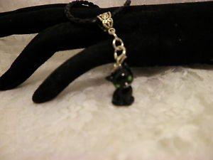 Resin Black Cat 3 D Charm Black Corded Bail Necklace