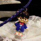 Resin 3 D Kewpi Doll Nerdy Glasses Doll Charm Pendant Necklace KIDS Jewelry