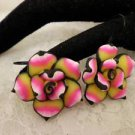 Handmade Polymar Clay Pink & Yellow Rose FLower Hook Dangle Earrings