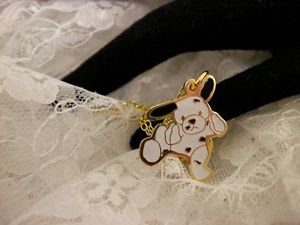 """""""RARE"""" TY Beannie Spotted White Dog Golden Style Charm Necklace Kids Jewelry"""