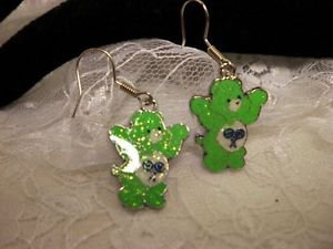 Metal Care Bear Green Enamel Charm Surgical Steel Dangle Earrings