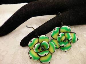 Handmade Polymar Clay Rose Green and Black Earrings Dangle Hypo Allergenic