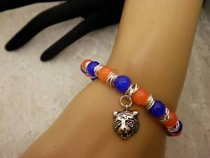 Handmade Football College Auburn Beaded Silver Tiger Charm Bangle Bracelet