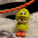 Resin 3D YELLOW Big Bird Kewpi Doll 3D Charm Corded Necklace Kids Jewelry