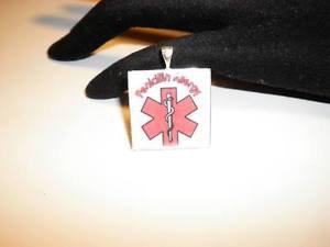 Handmade Awareness Medical Alert Allergy Penicillin Pendant Necklace Ball Chain