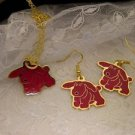 """RARE"" Red Golden TY Dog Charm Necklace And Earrings Set TY Beannie Charms"