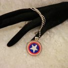 Handmade Captain America Silver Black Glass Cabochon Pendant Necklace Choose One