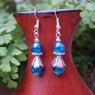 Blue Earrings in silver and crackle glass 9x26mm